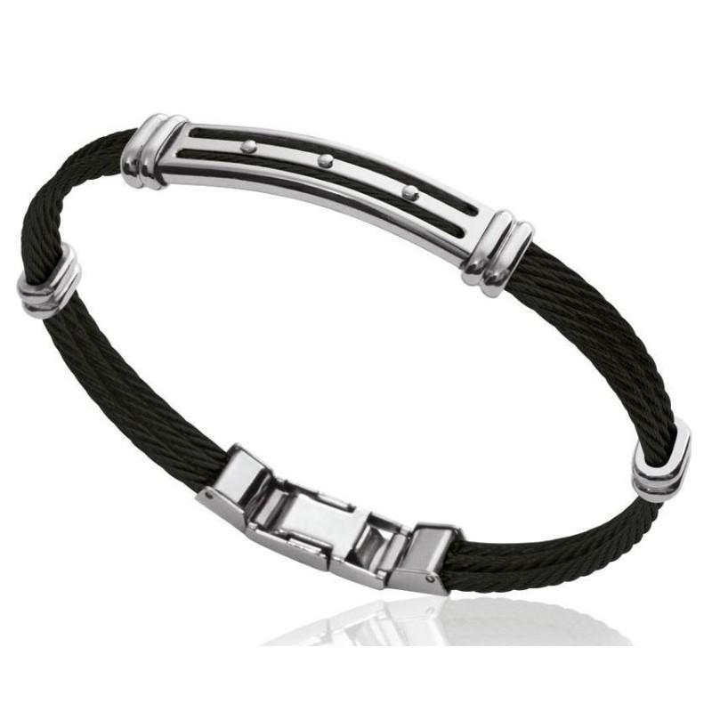 Bracelet câble rigide pour homme en acier noir, Bijoux Homme