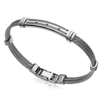 Bracelet câble rigide pour homme en acier gris, Bijoux Homme