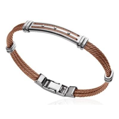 Bracelet câble rigide pour homme en acier marron - Santiago