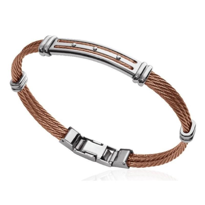 Bracelet câble rigide pour homme en acier marron, Bijoux Homme