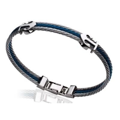 Bracelet Ancre marine pour homme en acier bleu, Bijoux Homme