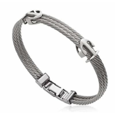 Bracelet Ancre marine pour homme en acier gris, Bijoux Homme