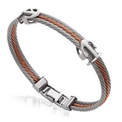 Bracelet Ancre marine pour homme en acier marron, Bijoux Homme