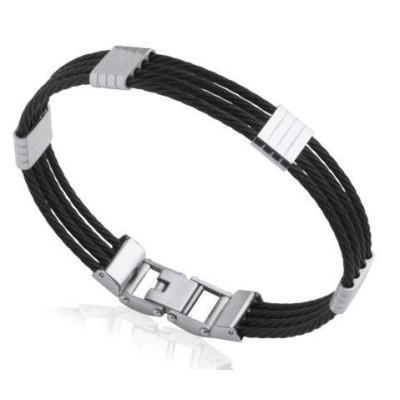 Bracelet rigide pour homme en acier noir, Bijoux Homme
