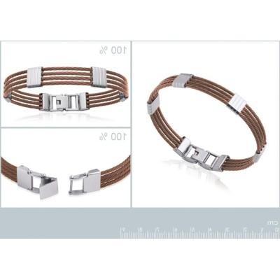 Bracelet rigide pour homme en acier marron, Bijoux Homme