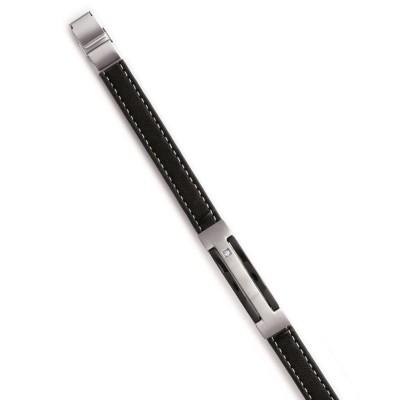 Bracelet cuir pour homme en acier - NewYork - Lyn&Or Bijoux