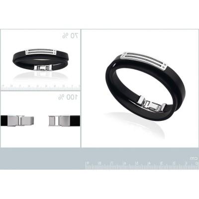 Bracelet double en cuir noir et câbles d'acier pour homme, London