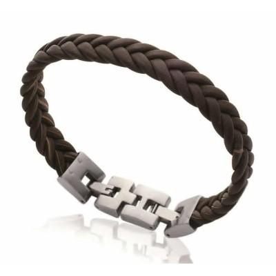 Bracelet tressé en cuir marron et acier pour homme, Bijoux Homme