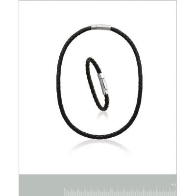 Bracelet pour homme en acier et cuir noir, Bijoux tendance homme
