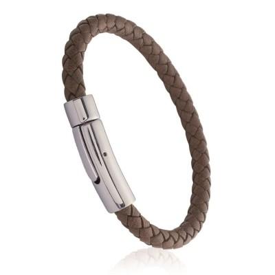 Bracelet pour homme en acier et cuir marron, Bijoux Homme