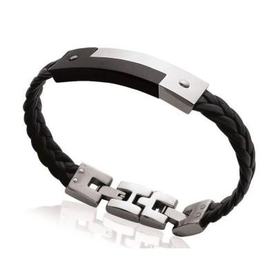 Bracelet pour homme en acier noir et cuir, Bijoux Homme
