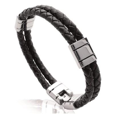 Bracelet tendance homme en acier et cuir noir, Bijoux Homme