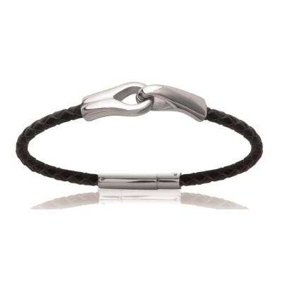 Bracelet pour homme en acier et cuir, Bijoux Homme