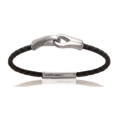 Bracelet pour homme en acier et cuir - Sixti - Lyn&Or Bijoux