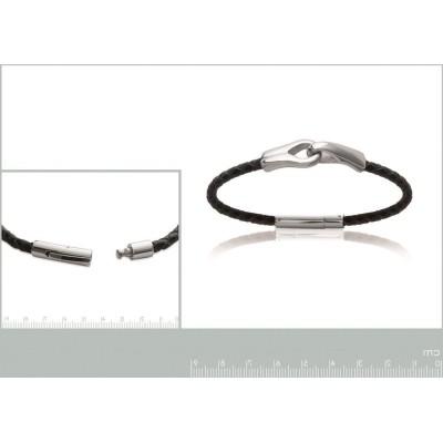 Bracelet pour homme en acier et cuir, Bijoux tendance homme