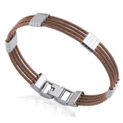 Bracelet jonc pour homme en acier marron - Costa Rica