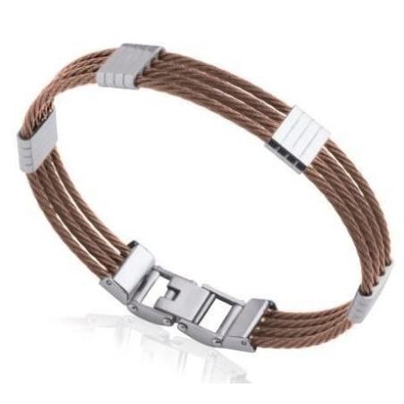 Bracelet jonc pour homme en acier marron - Costa Rica - Lyn&Or Bijoux