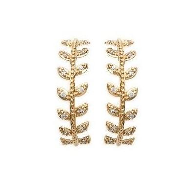 Boucles Créoles femme en plaqué or et zircon - Bijoux femme