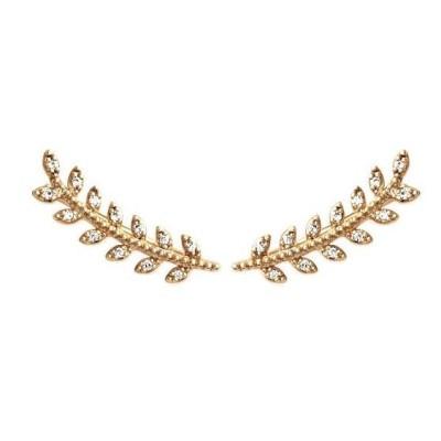 Boucles lobe d'oreilles en plaqué or et zircon - Bijoux femme