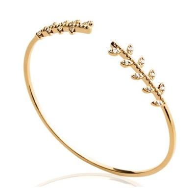 Bracelet rigide ouvert pour femme en plaqué or et zircon - Bijoux femme