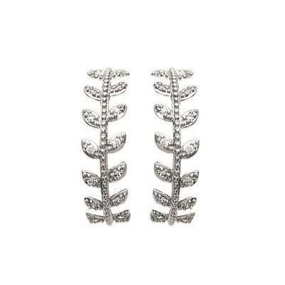 Boucles Creoles en argent rhodié et zircon - Bijoux femme