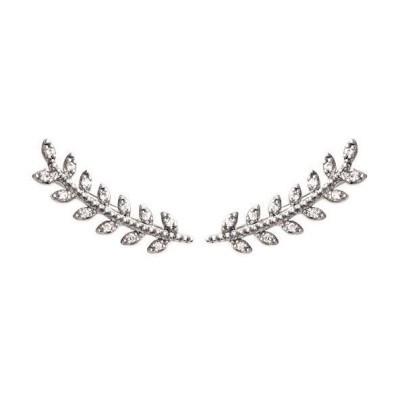 boucles Contours d'oreilles en argent rhodié et zircon - Bijoux femme