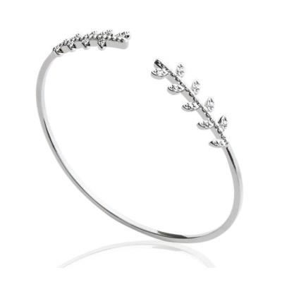 Bracelet jonc ouvert pour femme en argent rhodié et zircon - Bijoux femme