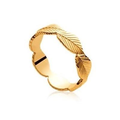 Bague pour femme en plaqué or - Feuille - Lyn&Or Bijoux