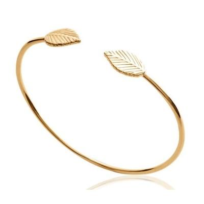 Bracelet Jonc pour femme en plaqué or - Feuille - Lyn&Or Bijoux