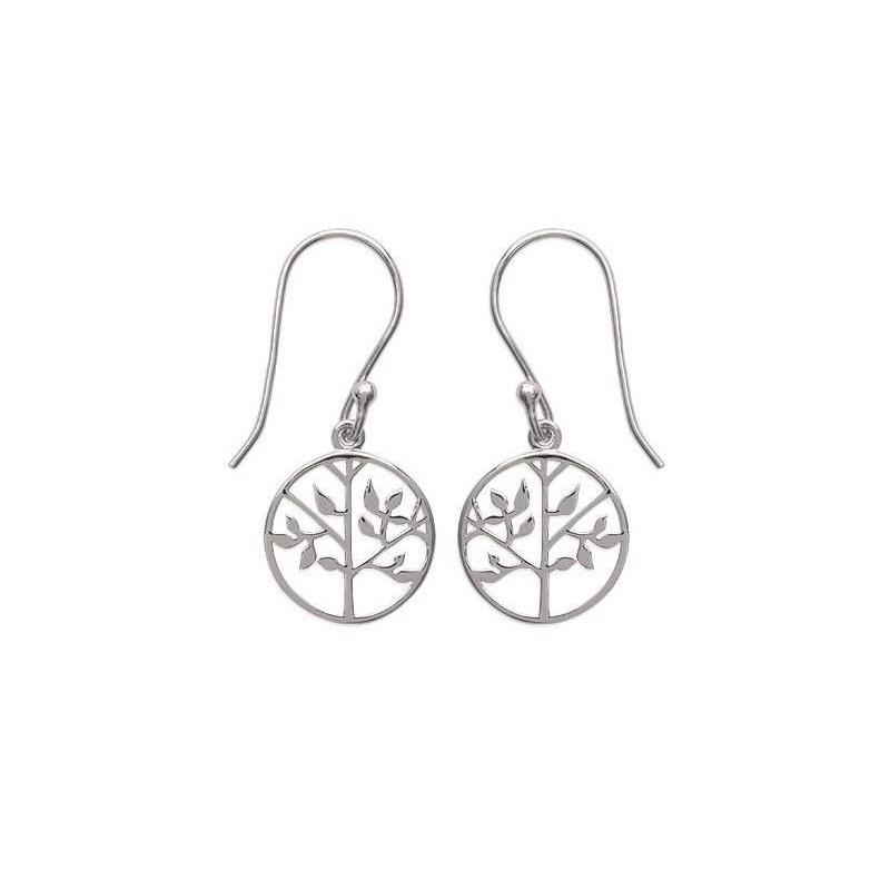 Boucles d'oreille femme, Arbre de vie en argent rhodié - Signature - Lyn&Or Bijoux