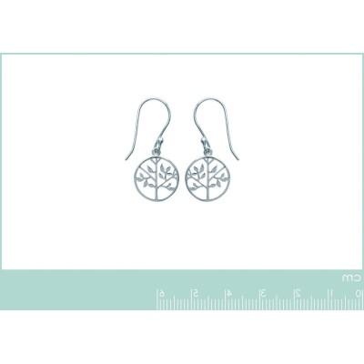 Boucles d'oreilles arbre de vie en argent rhodié - Bijoux femme