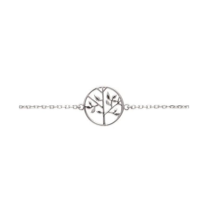 Bracelet arbre de vie en argent rhodié pour femme - Signature - Lyn&Or Bijoux