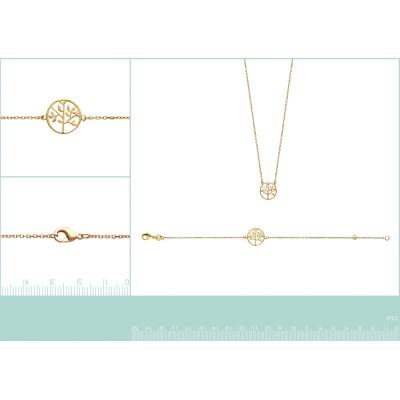 Bracelet arbre de vie en plaqué or pour femme - Bijoux femme