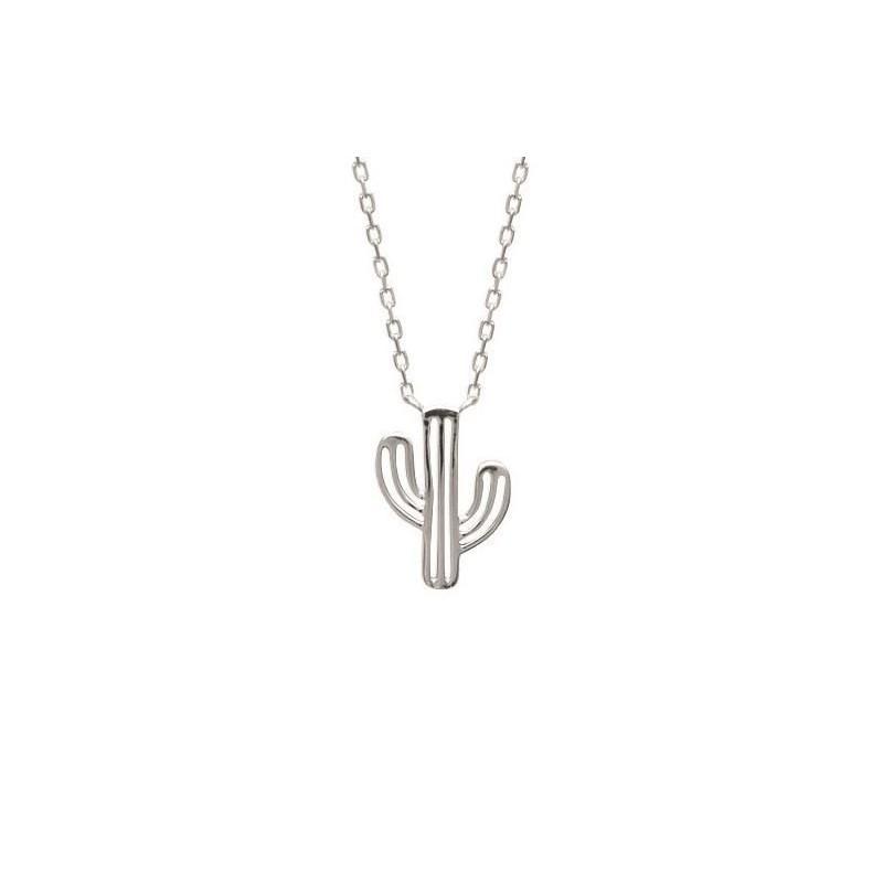 Collier pendentif cactus en argent pour femme - Bijoux femme