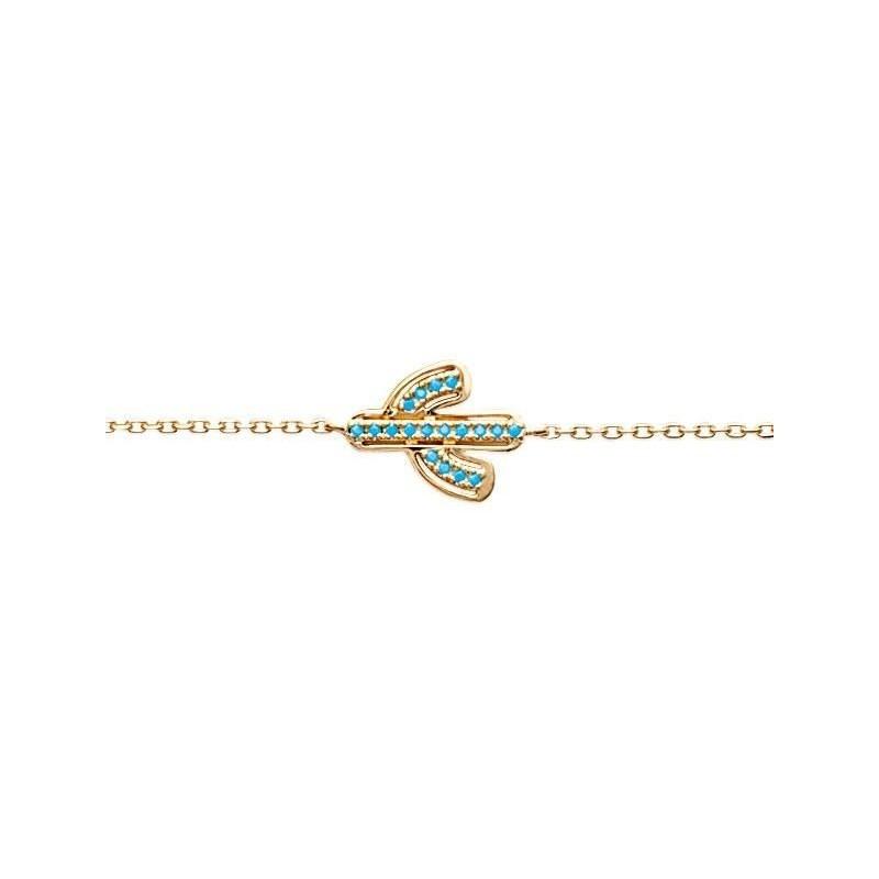 Bracelet femme en plaqué or jaune et pierre turquoise - Bijoux femme