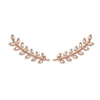 Contours d'oreilles pour femme en plaqué or rose et zircon