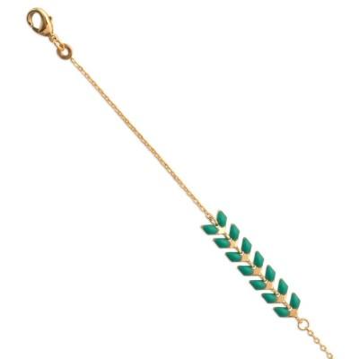 Bracelet femme en plaqué or et émail vert - Lucinda - Lyn&Or Bijoux