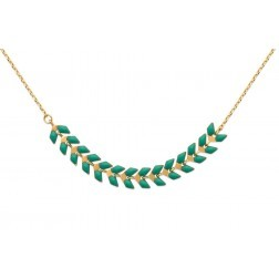 Collier plaqué or et émail vert - Bijoux pour femme