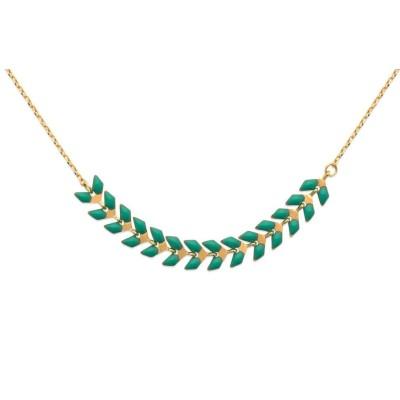 Collier ras-de-cou en plaqué or et émail vert - Lucinda - Lyn&Or Bijoux