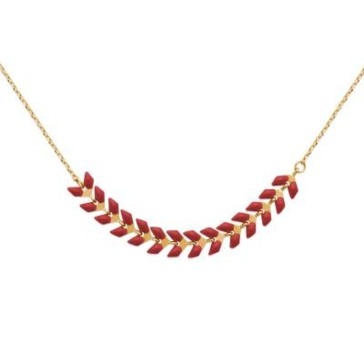 Collier plaqué or et émail rouge - Bijoux pour femme