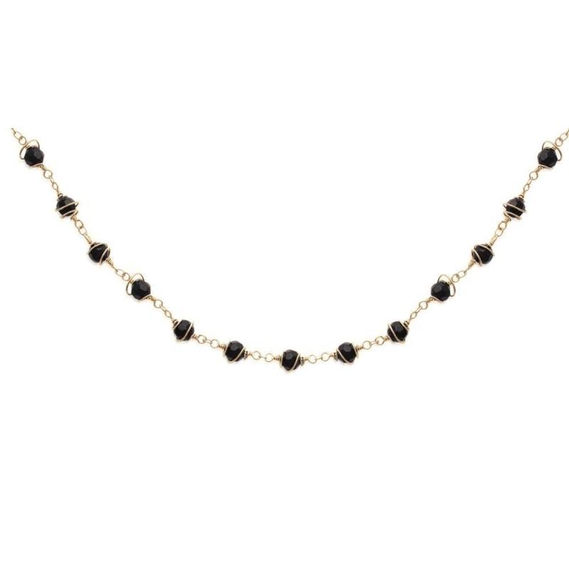 collier femme noir et or