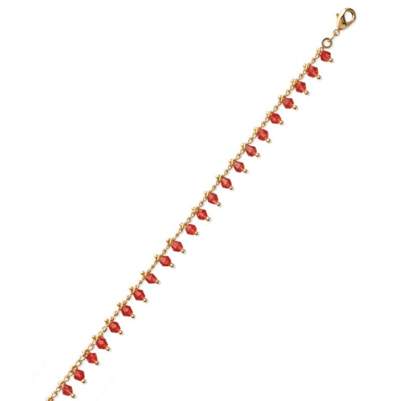 Bracelet, plaqué or, cristal de Swarovski Rouge - Bijoux pour femme