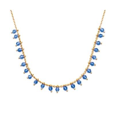 Collier femme en plaqué or et cristal de Swarovski Bleu - Tik - Lyn&Or Bijoux