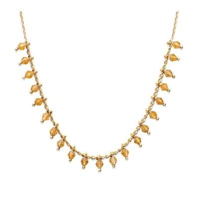Collier femme en plaqué or et cristal de Swarovski Jaune - Tik - Lyn&Or Bijoux