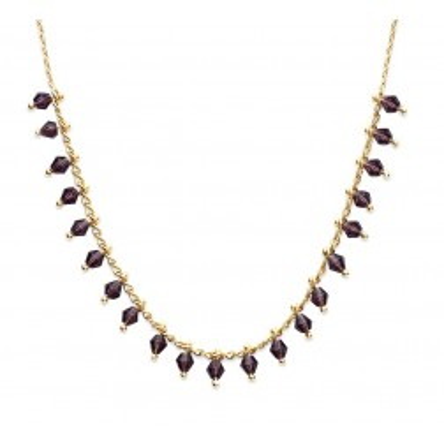 Collier femme en plaqué or et cristal de Swarovski Noir - Tik - Lyn&Or Bijoux