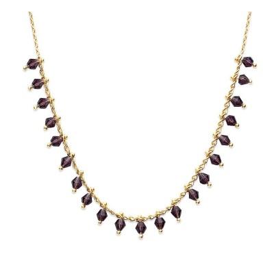 Collier en plaqué or, cristal de Swarovski Noir - Bijoux pour femme