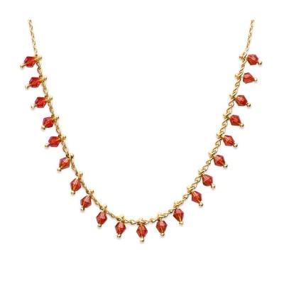 Collier en plaqué or, cristal de Swarovski Rouge - Bijoux pour femme