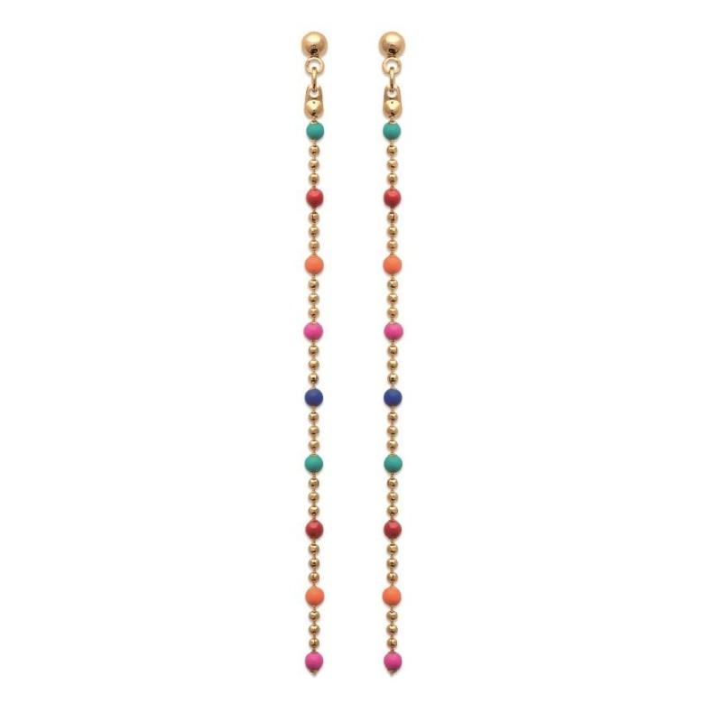 Boucles d'oreille plaqué or et pierres multicolores, plaqué or - Bijoux Femme