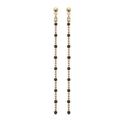 Boucles d'oreille pendantes pour femme, émail noir & plaqué or - Pep's - Lyn&Or Bijoux