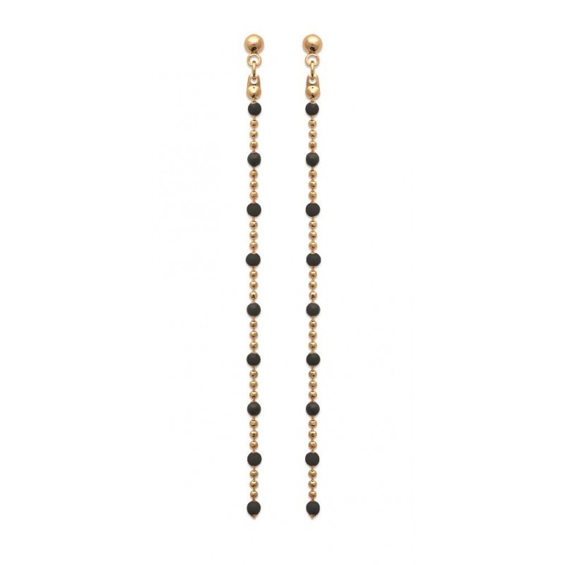 Boucles d'oreilles pendantes noires en plaqué or - Bijoux femme